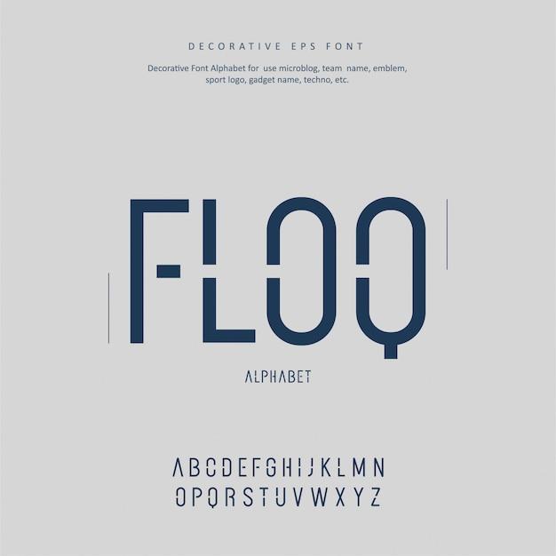 Dekoracyjna nowoczesna czcionka alfabet kreatywny przyszłości