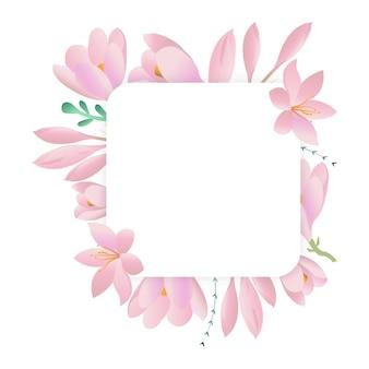 Dekoracyjna okrągła rama z fioletowymi krokusami. karta kwiatowa, kwadratowa ramka.