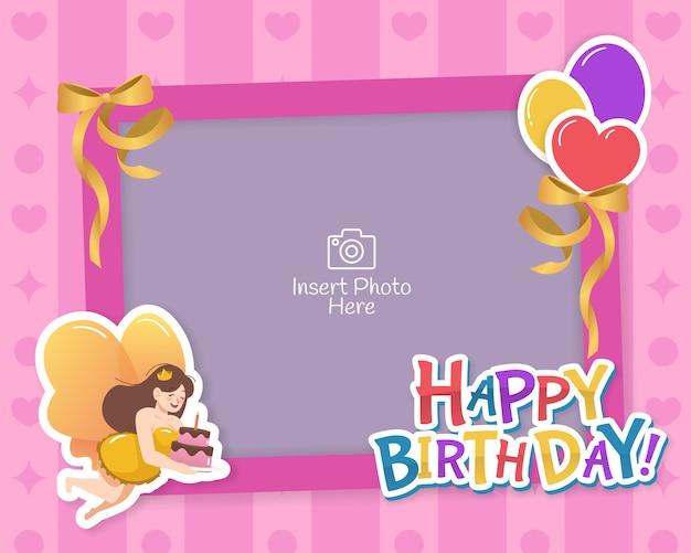Dekoracyjna ramka urodzinowa z balonami, wstążkami i ilustracją postaci wróżki