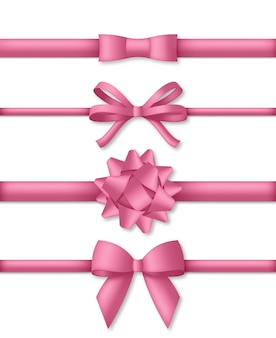 Dekoracyjna różowa kokardka z ilustracją wstążek