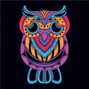 Dekoracyjna sowa w blasku neonowego koloru