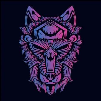 Dekoracyjna twarz artwok z głową wilka