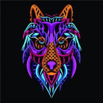 Dekoracyjna twarz wilka z neonowego koloru