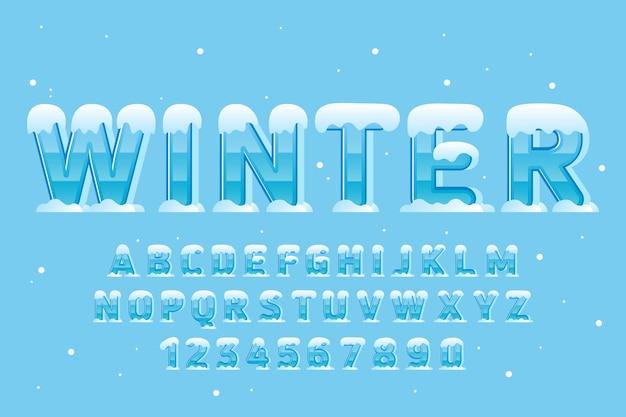 Dekoracyjna zima ze śniegiem czcionka i alfabet