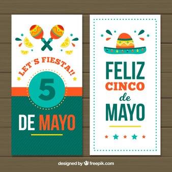 Dekoracyjne banery circo de mayo z kapeluszem i marakasem
