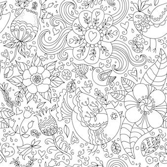 Dekoracyjne bezszwowe tło wzór z konturowym rysunkiem kwiatów i ptaków.