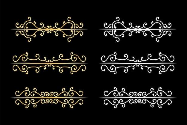 Dekoracyjne dzielniki wiruje stary ogranicznik tekstu, kaligraficzne ozdoby wirowe i dzielnik vintage, obramowania retro.