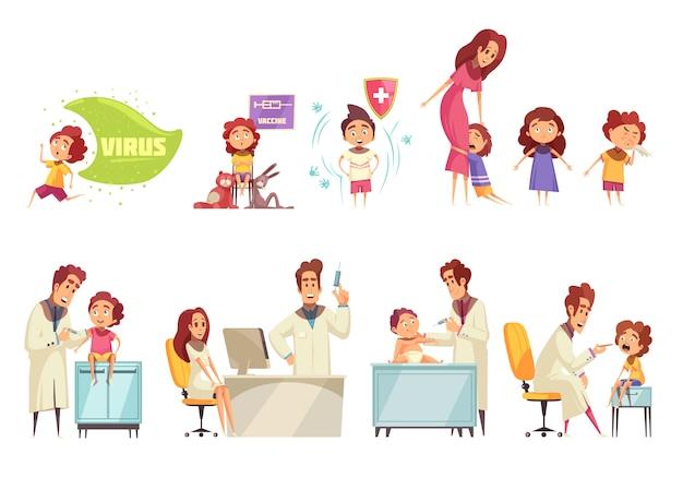 Dekoracyjne ilustracja szczepienia dzieci zestaw z lekarzami i rodzicami, którzy przynoszą swoje dzieci do otrzymania szczepionki płasko