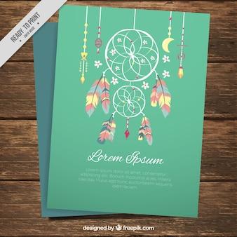 Dekoracyjne karty z pozdrowieniami z etnicznych dreamcatcher
