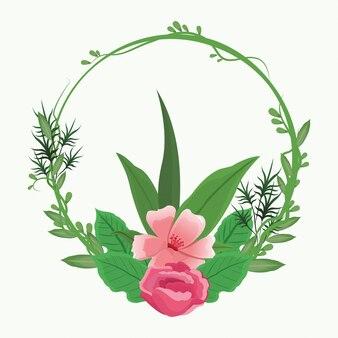 Dekoracyjne okrągłe ramki różowe kwiaty z liśćmi