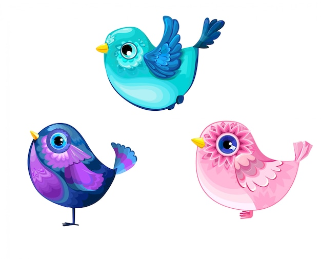 Dekoracyjne ptaszyny zestaw ilustracji wektorowych. kolor ptaka