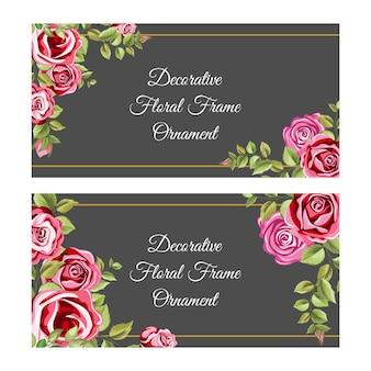 Dekoracyjne ramki z ornamentem kwiatów i liści