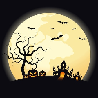 Dekoracyjne tło halloween nocnej scenerii z dyni, zamku i nietoperzy.
