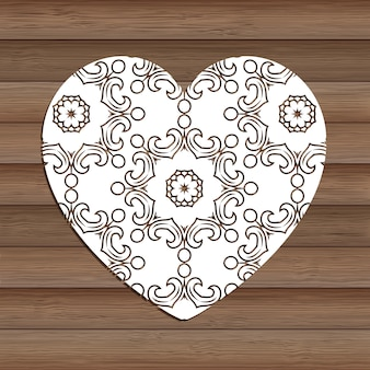 Dekoracyjne wyłącznik serca na drewniane tekstury