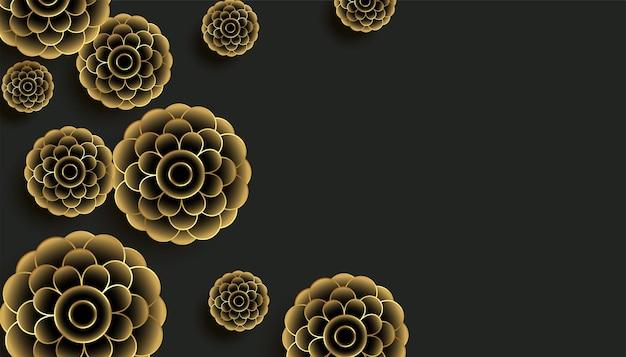 Dekoracyjne złote kwiaty na czarnym tle