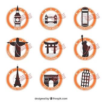 Dekoracyjne znaczki miasta z pomarańczowymi okręgami