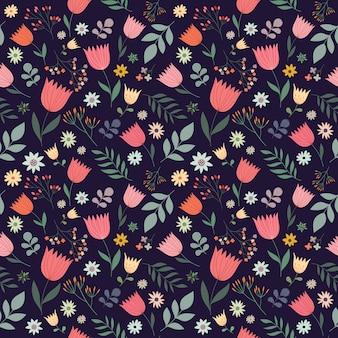 Dekoracyjny bezszwowy wzór z kwiatami, wektorowy projekt