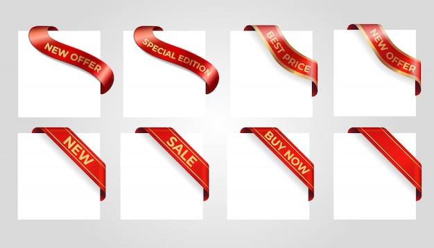 Dekoracyjny czerwony sprzedaż sztandar odizolowywający na tle.