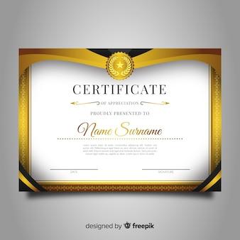 Dekoracyjny dyplom szablon z złotymi elementami