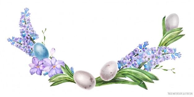 Dekoracyjny łuk akwarelowy z kwiatami hiacyntu i ptasimi jajami