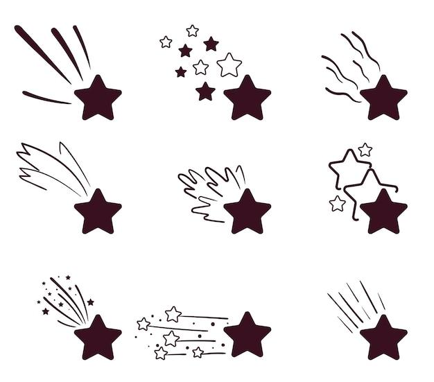 Dekoracyjny meteoryt kosmosu na białym tle na białym tle zestaw gwiazd wektor płaski kreskówka graficzny ilustracja
