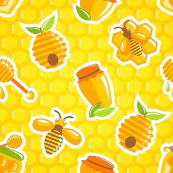 Dekoracyjny miodowy karmowy słój rój mamrocze pszczoły i chochla z honeycomb bezszwową deseniową wektorową ilustracją