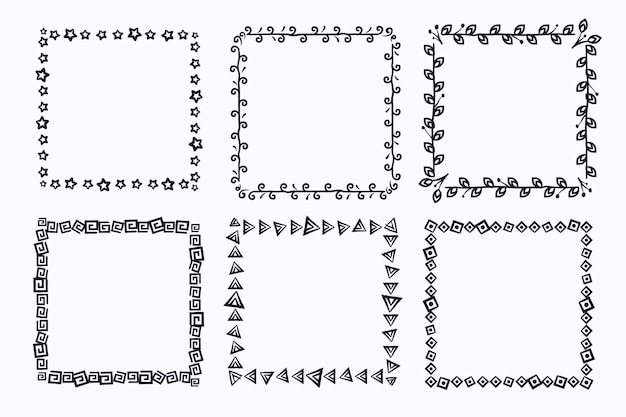 Dekoracyjny pakiet ramek z doodle