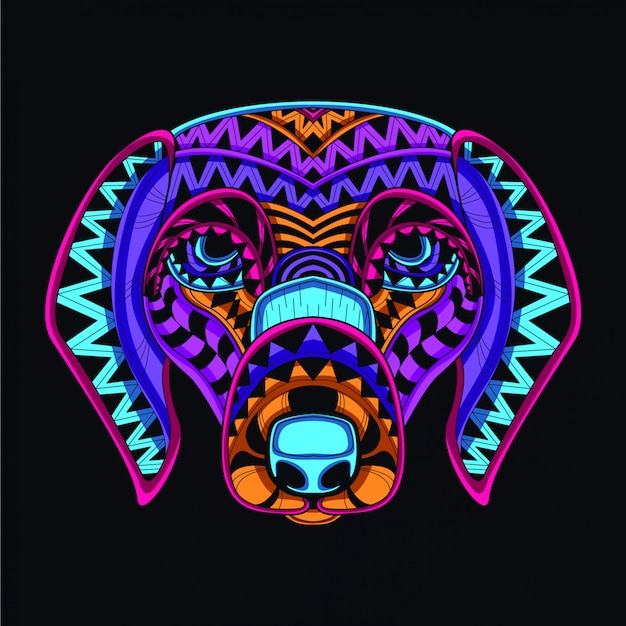 Dekoracyjny pies w blasku neonowego koloru