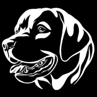 Dekoracyjny portret psi labrador retriever, wektor odosobniona ilustracja