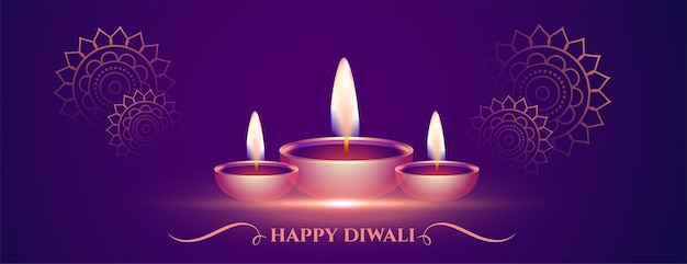 Dekoracyjny purpurowy baner happy diwali z diya
