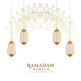 Dekoracyjny ramadan kareem islamski latarniowy tło