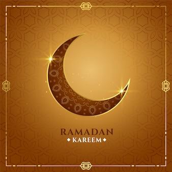 Dekoracyjny ramadan kareem złoty księżyc tło