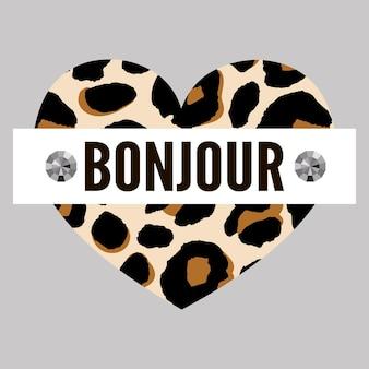 Dekoracyjny slogan bonjour tekst ze skórką leopard
