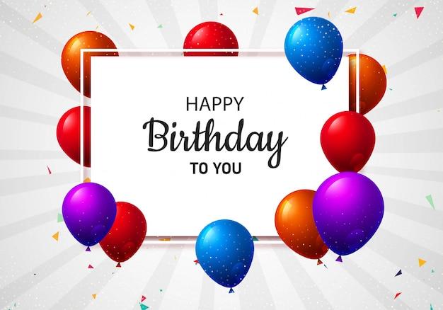 Dekoracyjny stubarwny balonu wszystkiego najlepszego z okazji urodzin karty tło