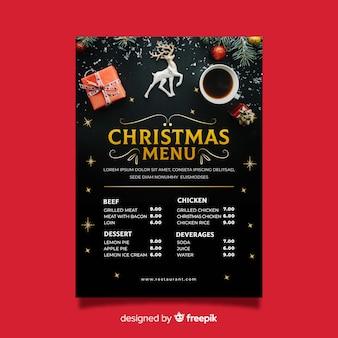 Dekoracyjny szablon menu świąteczne