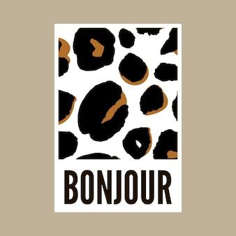 Dekoracyjny tekst sloganu bonjour hello ze skórą lamparta