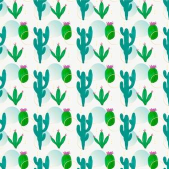 Dekoracyjny wzór różnych kaktusów
