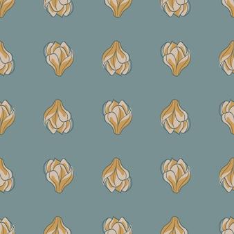 Dekoracyjny wzór z jasnoszarym i ochrowym kwiatem magnolii