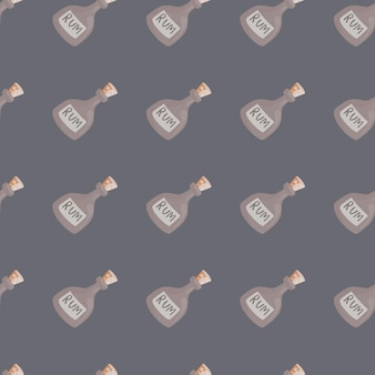 Dekoracyjny wzór z pastelowymi kształtami butelki rumu. fioletowe tło. ozdoba alkoholowa. przeznaczony do projektowania tkanin, nadruków na tekstyliach, zawijania, okładek. ilustracja wektorowa.