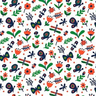 Dekoracyjny wzór z różnymi kwiatami i owadami