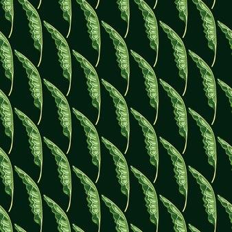 Dekoracyjny wzór z zielonymi liśćmi bananowymi kształtuje nadruk. czarne tło. doodle tło.