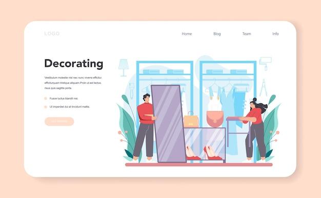 Dekorator sklepu odzieżowego, baner internetowy lub planowanie strony docelowej