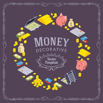 Dekorowanie projektu z przedmiotów związanych z finansami