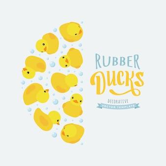 Dekorowanie tła z żółtych gumowych kaczek