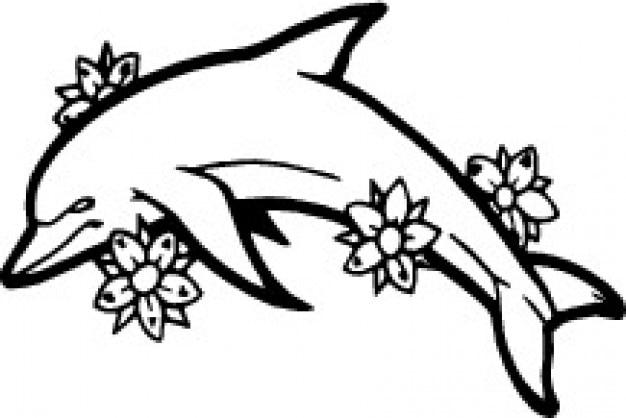 Delfin side z kwiatami