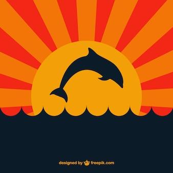 Delfin w sunsent wektora