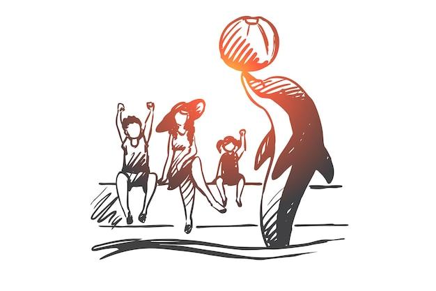 Delfinarium, zwierzę, akwarium, morskie, koncepcja wydajności. ręcznie rysowane delfin wykonuje dla dzieci w szkic koncepcji delfinarium.