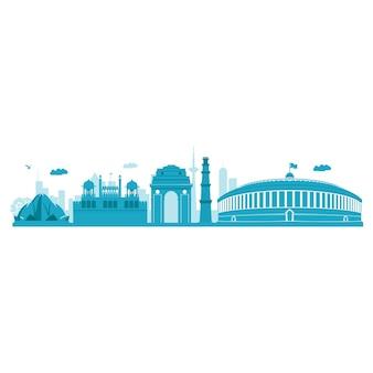 Delhi skyline.