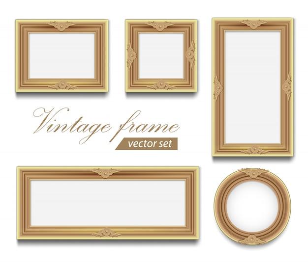 Delikatna okrągła kwadratowa prostokątna ramka na zdjęcia z jasnozłotego drewna. zestaw vintage ramki