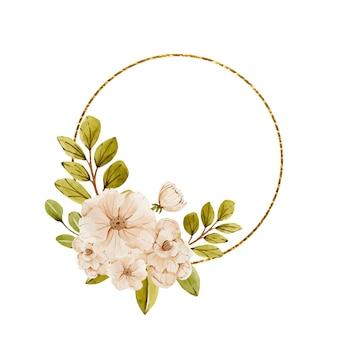 Delikatna złota ramka z jasnoróżowymi kwiatami